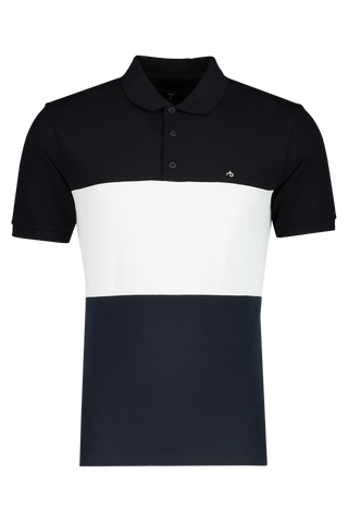 Front view image of Theory Men's Color Block Pique Polo Black/White/Navy
