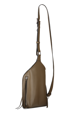 Back angled view image with strap of Rag & Bone Women's Ellliot Sling Pack Taupe