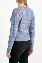 Back Crop Image Of Model Wearing Rag & Bone Women's Long Sleeve Avryl Pullover
