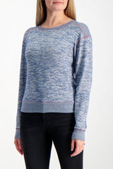 Front Crop Image Of Model Wearing Rag & Bone Women's Long Sleeve Avryl Pullover