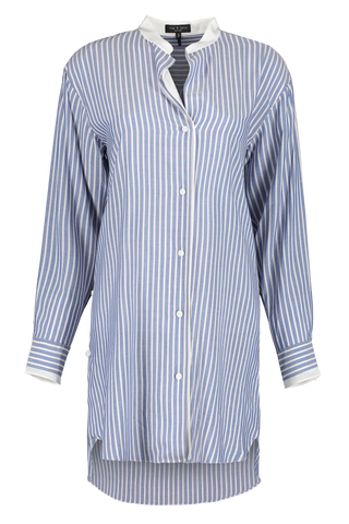 Front Image Of Rag & Bone Women's Margot Striped Tunic Blue Stripe
