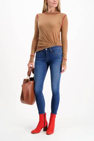 Full Body Image Of Model Wearing Rag & Bone Women's Marina Cashmere Crewneck Sweater Camel