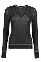 Front image of Rag & Bone Women's Marina Cashmere V-Neck Sweater Black