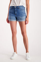 Front Crop Image Of Model Wearing Rag & Bone Nina High-Rise Short