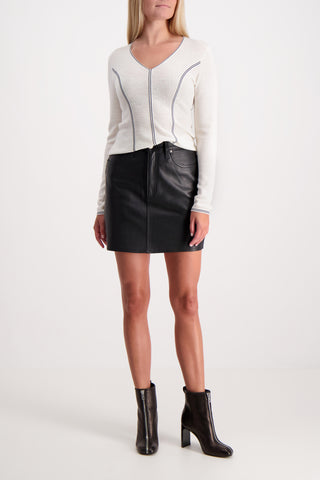 MOSS LEATHER SKIRT BLACK