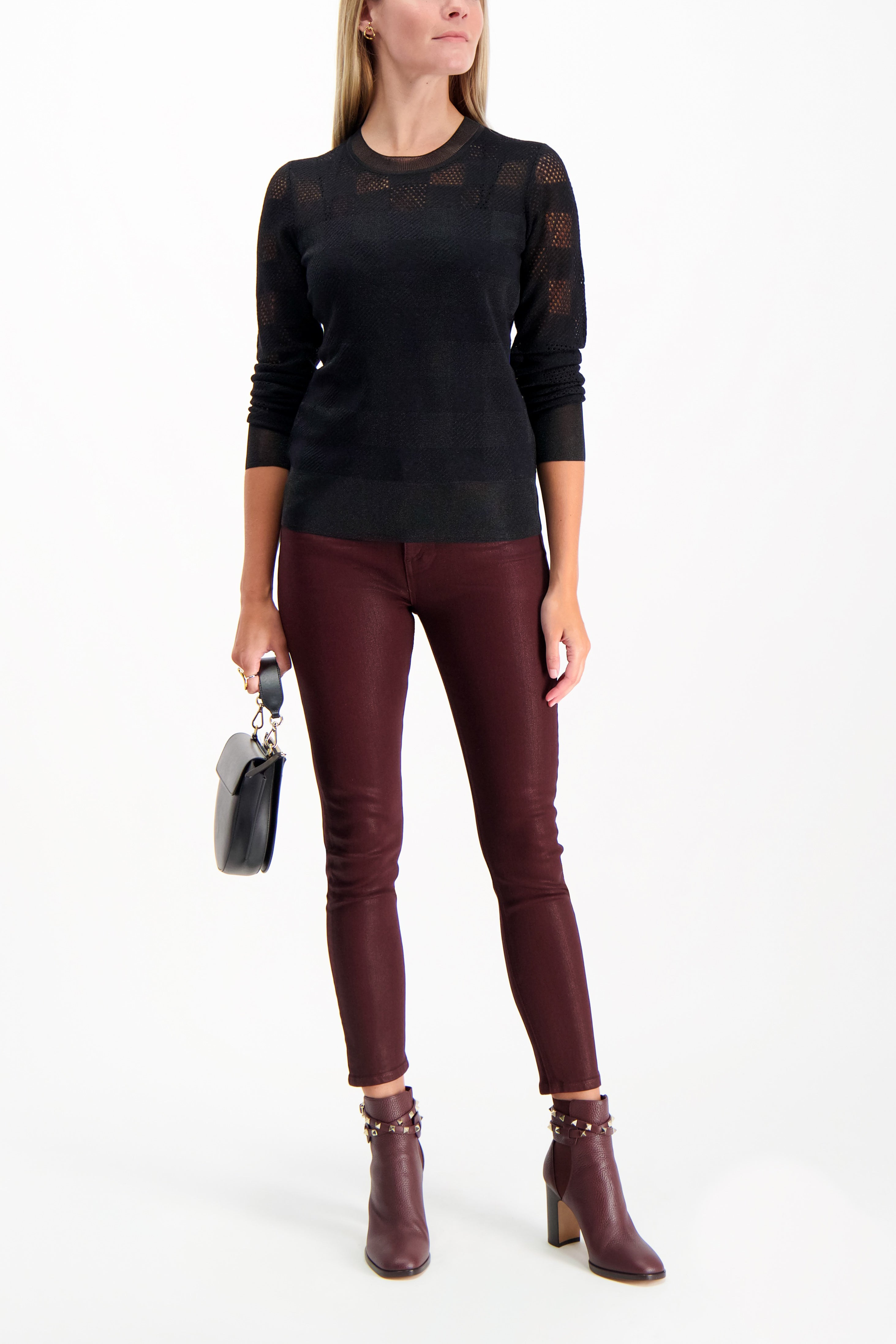 Full Body Image Of Model Wearing Rag & Bone Nina High Rise Ankle Skinny