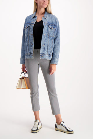 Full Body Image Of Model Wearing Rag & Bone Oversized Denim Jacket