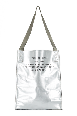 Front view image with straps of Rag & Bone 425 Packable Tote Silver