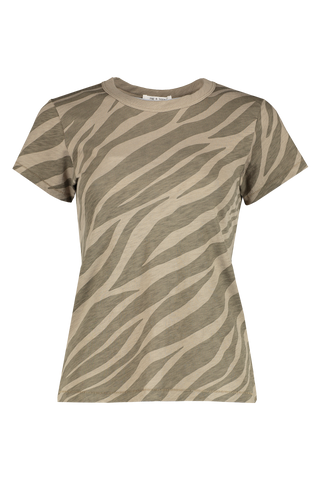Front view image of Rag & Bone Women's Short Sleeve All Over Zebra Tee