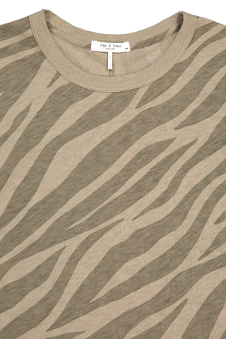 Front collar detail image of Rag & Bone Women's Short Sleeve All Over Zebra Tee