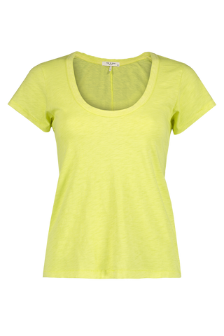 Front view image of Rag & Bone Women's Short Sleeve U Neck Tee Lime Green