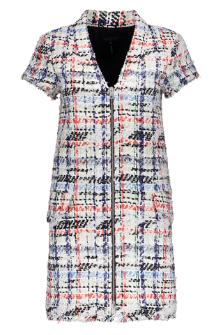 Women's Short Sleeve Jane Dress Tweed In White Multi