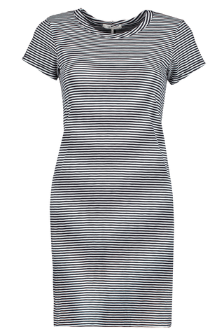 Front view image of Rag & Bone Striped Tee Dress Black/White