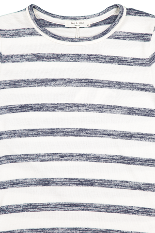 The Knit Striped Slim Tee White/Navy Stripe
