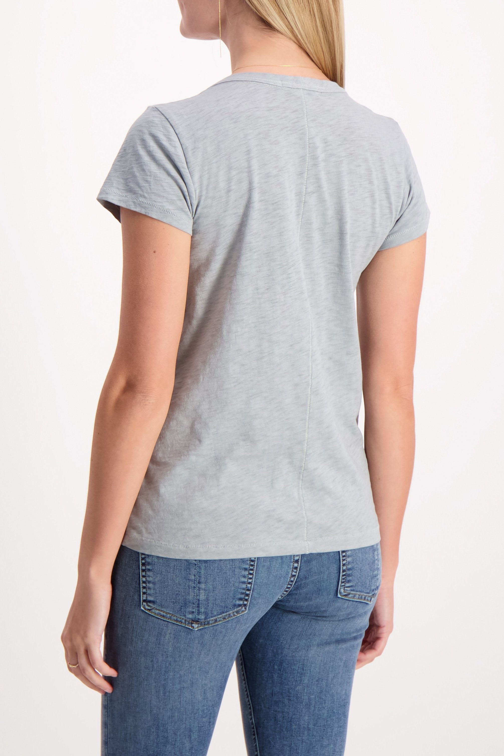 U Neck Tee Dusty Blue