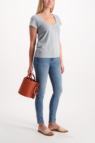 Full Body Image Of Model Wearing Rag & Bone U Neck Tee Dusty Blue