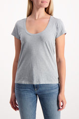 Front Crop Image Of Model Wearing Rag & Bone U Neck Tee Dusty Blue