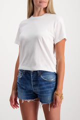 Front Crop Image Of Model Wearing RE/DONE Girlfriend Tee White