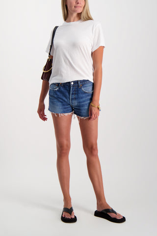Full Body Image Of Model Wearing RE/DONE The Short Indigo