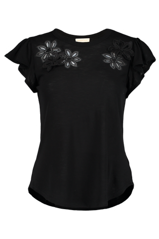 SLEEVELESS EMILIE EMBROIDERED JERSEY TOP BLACK
