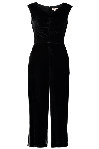 Sleeveless Ruched Velvet Jumpsuit Black