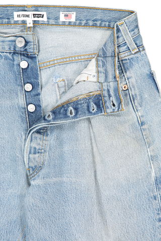Front waistline and button fly detail image of RE/DONE 40s Zoot Denim