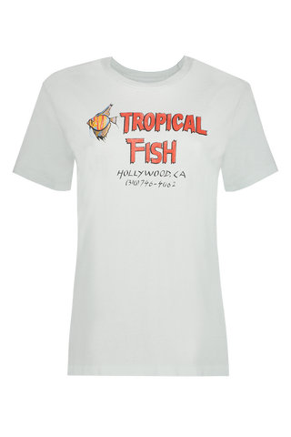 70's Loose Tropical Fish Tee Pale Blue