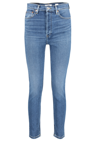 90's High Rise Ankle Crop Denim Dark