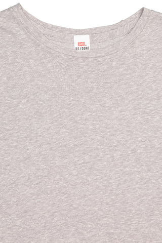 Neckline detail image of RE/DONE Classic Tee Heather Grey