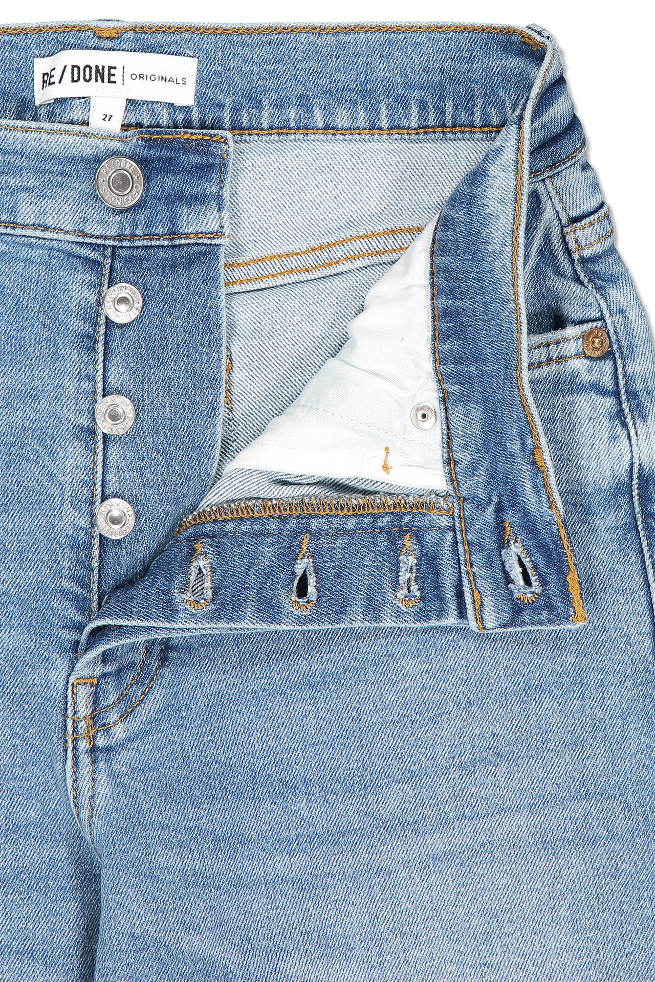 Waistline and zipper detail image of RE/DONE High Rise Stove Pipe Denim