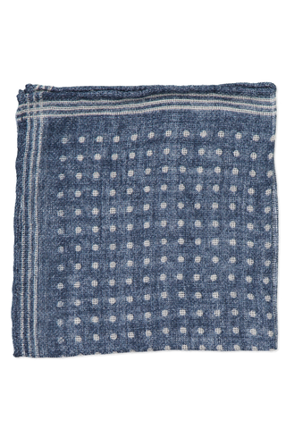Blue with White Polka Dot Cashmere Pocket Square