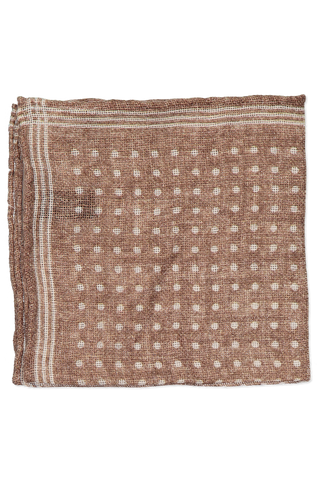Light Brown with White Polka Dot Cashmere Pocket Square