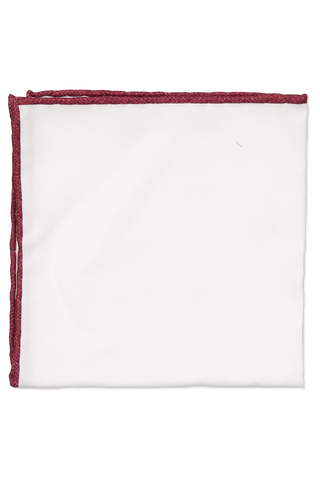 White with Red Trim Cotton Pocket Square