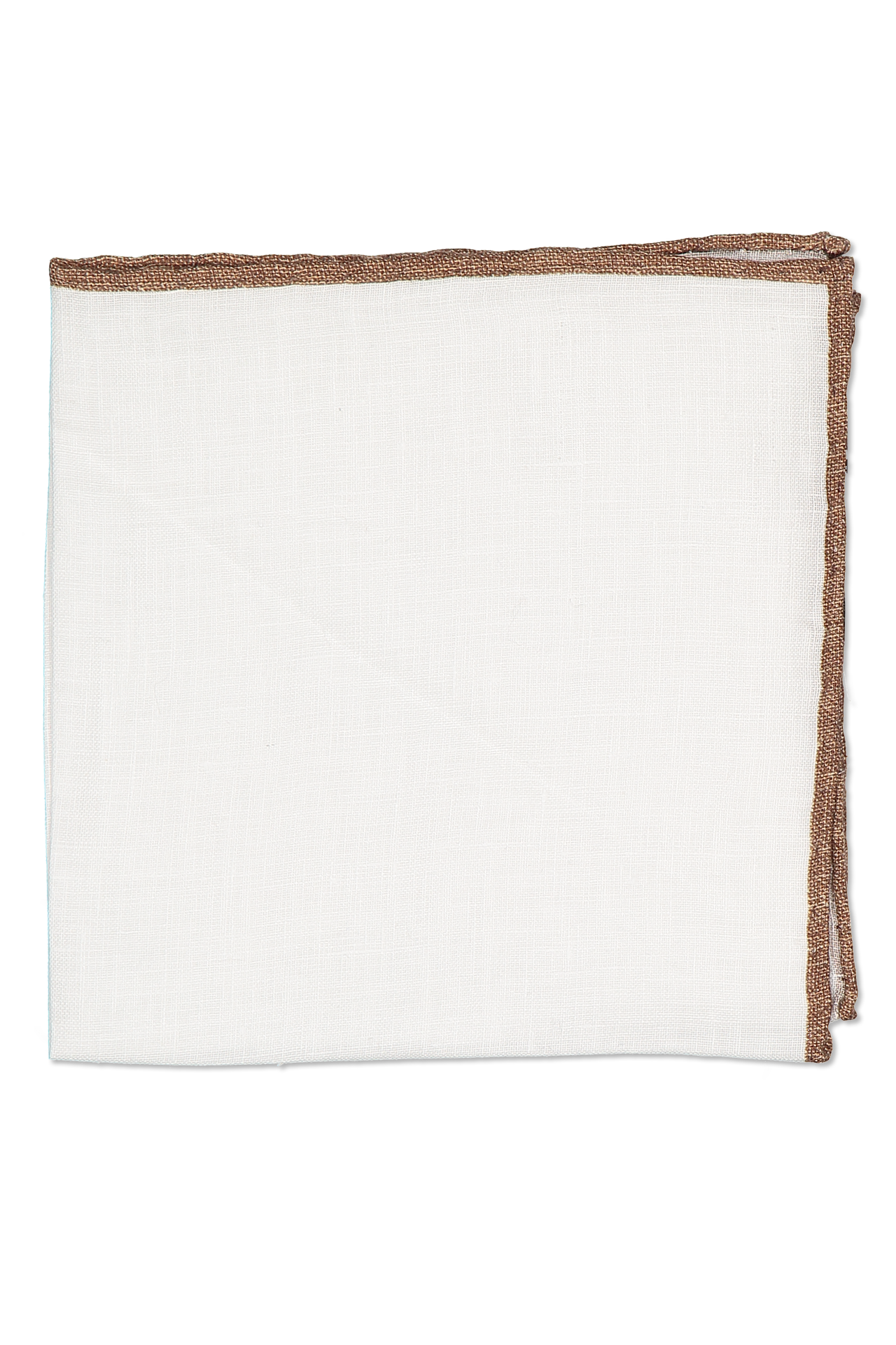 Aerial View White Linen Pocket Square with Border