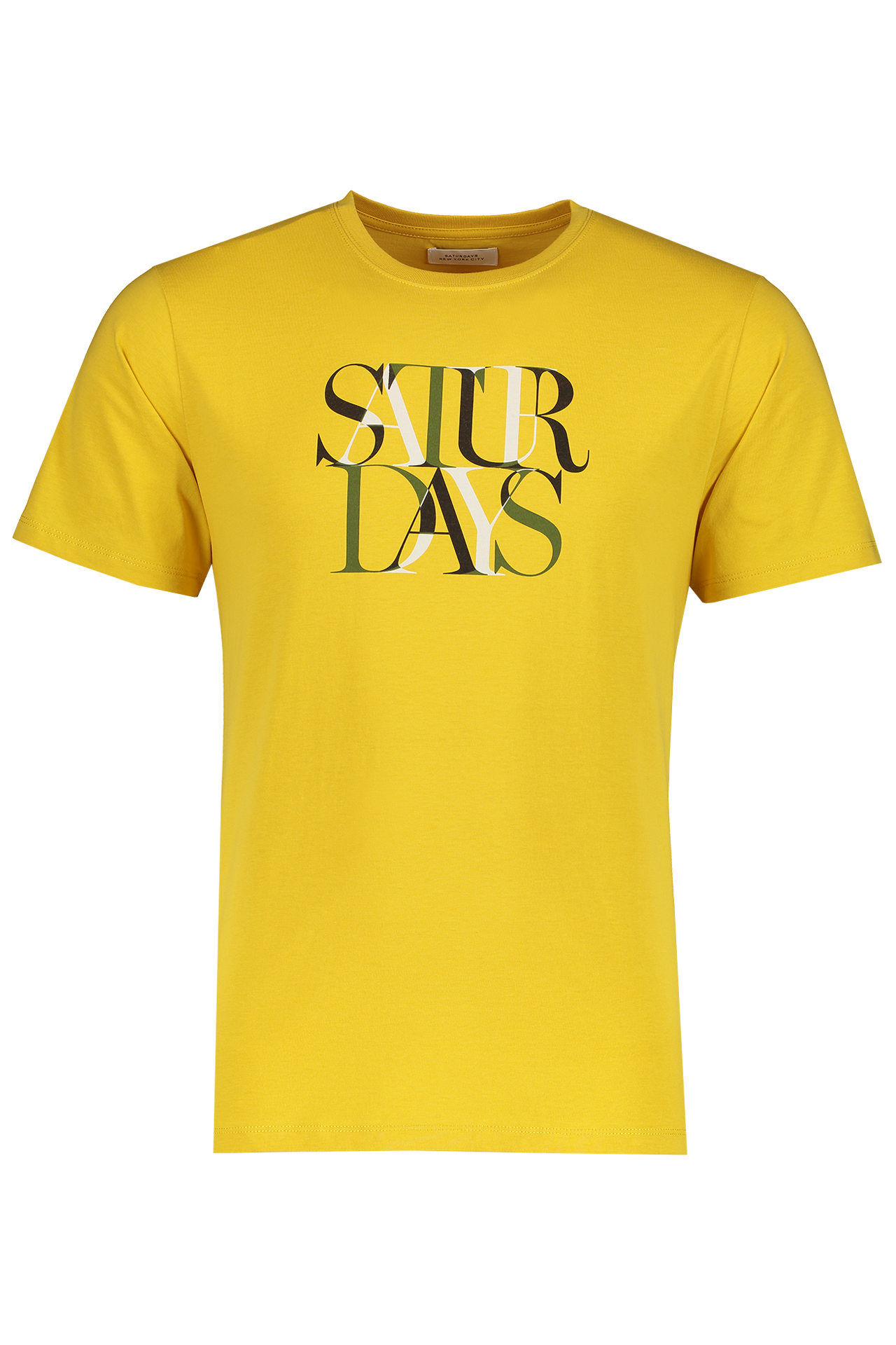 Front Image Of Saturdays NYC Color Overlap Short Sleeve Tee Goldenrod