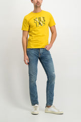 Full Body Image Of Model Wearing Image Of Saturdays NYC Color Overlap Short Sleeve Tee Goldenrod