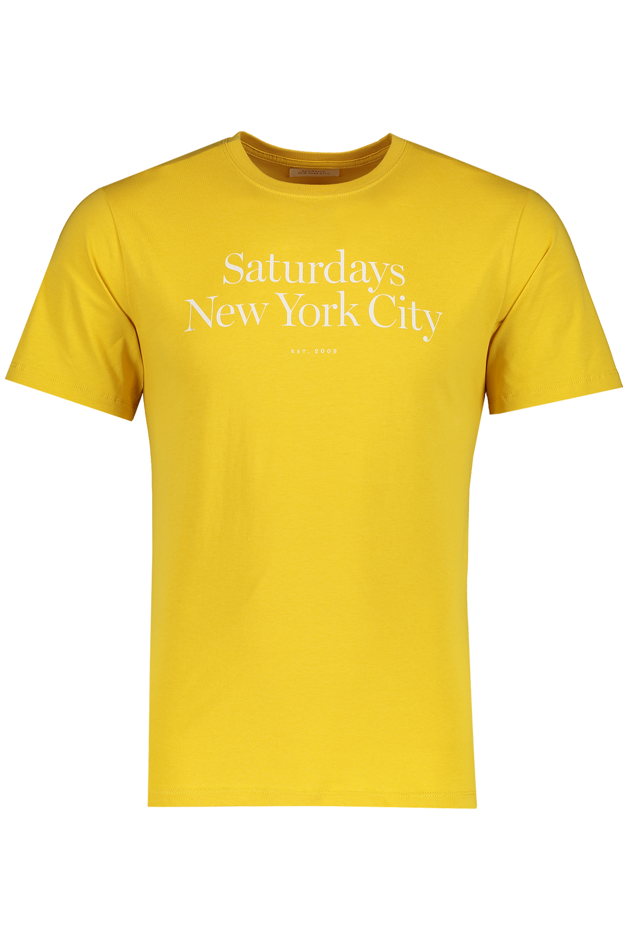 Front Image Of Saturdays NYC Miller Standard Short Sleeve Tee Goldenrod