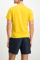 Back Crop Image Of Model Wearing Image Of Saturdays NYC Miller Standard Short Sleeve Tee Goldenrod