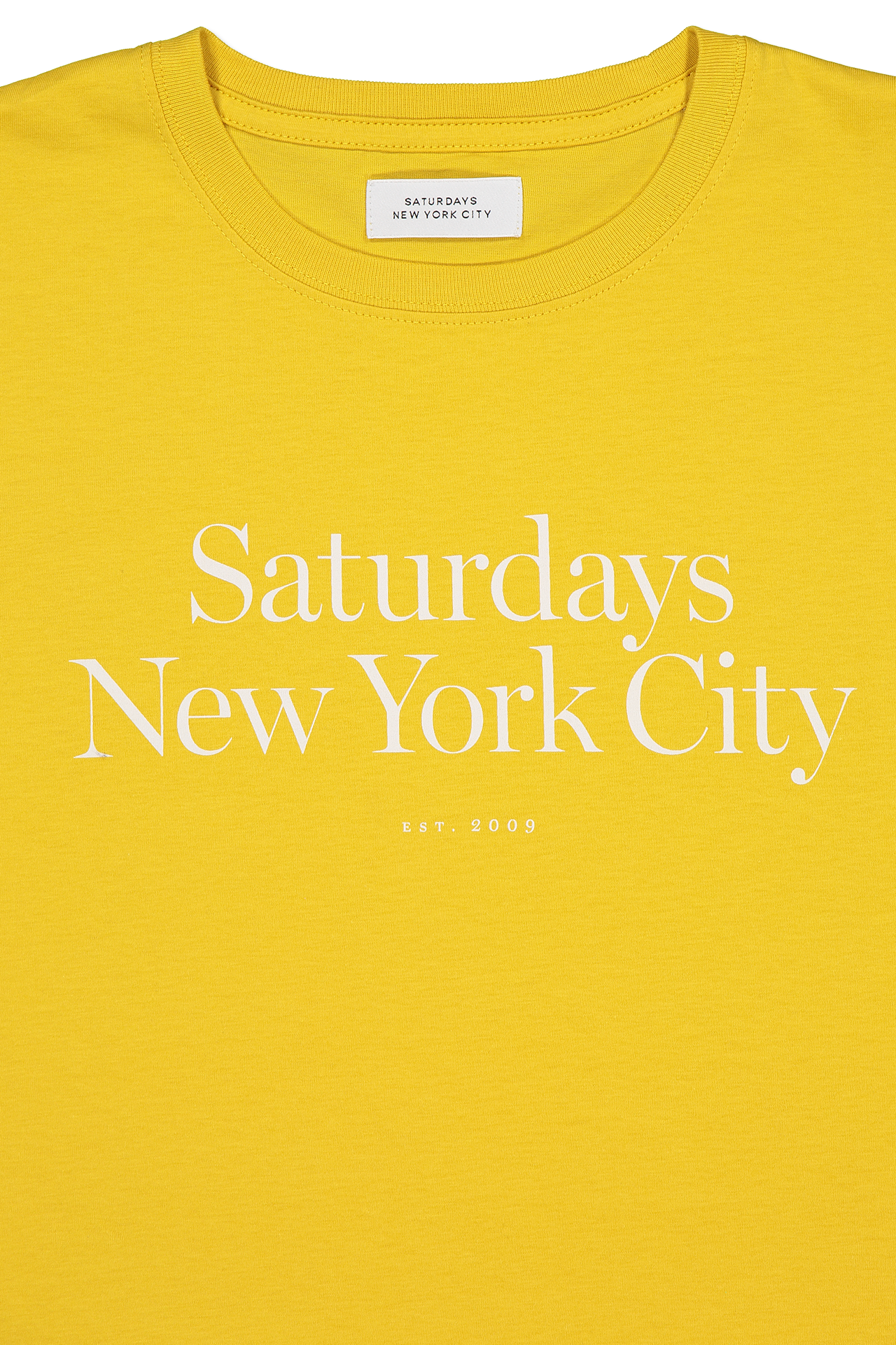 Neck Detail Image Of Saturdays NYC Miller Standard Short Sleeve Tee Goldenrod