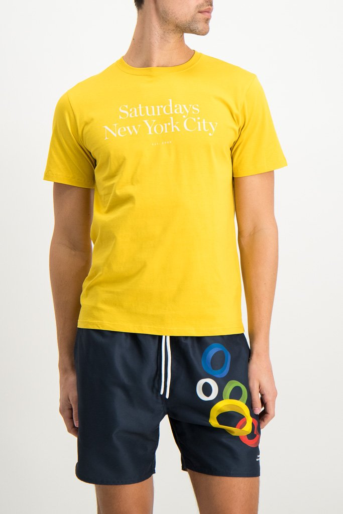 Front Crop Image Of Model Wearing Image Of Saturdays NYC Miller Standard Short Sleeve Tee Goldenrod
