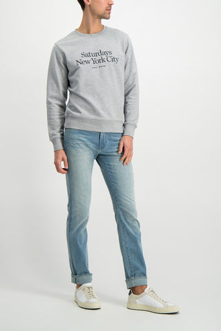 Full Body Image Of Model Wearing Image Of Saturdays NYC Bowery Miller Standard Crew Shirt Ash Heather