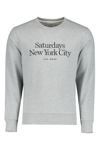 Front Image Of Saturdays NYC Bowery Miller Standard Crew Shirt Ash Heather