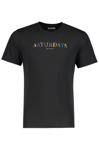 Front view image of Color Overlap Short Sleeve Tee Black