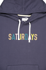 Front collar, hood, and graphic detail image of Saturdays NYC Men's Ditch Saturdays Multi Color Hoodie