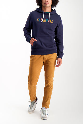 Full Body Image Of Model Wearing Saturdays NYC Ditch Multicolor Hoodie