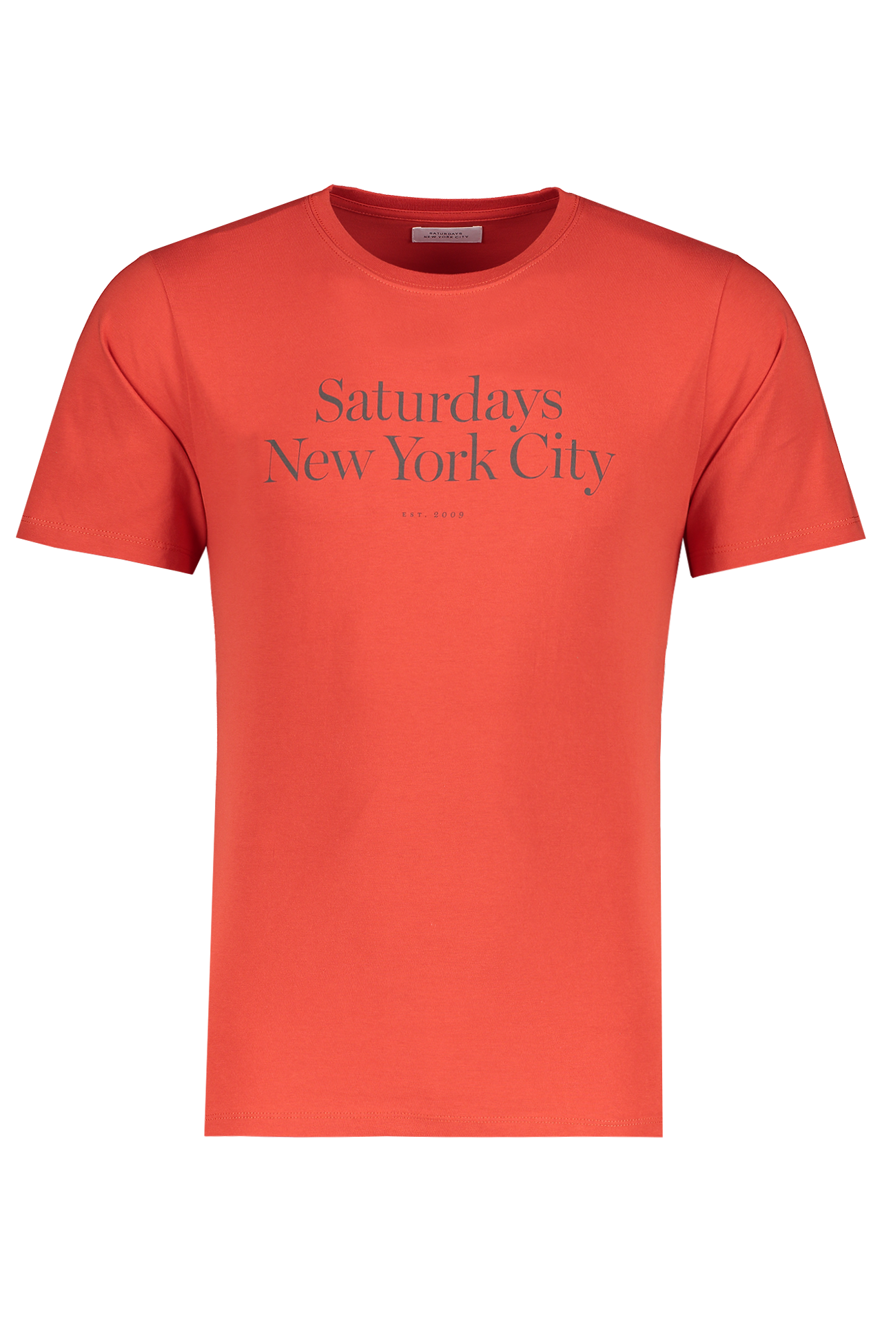 Front Image Of Saturdays NYC Miller Standard Short Sleeve Tee Chili