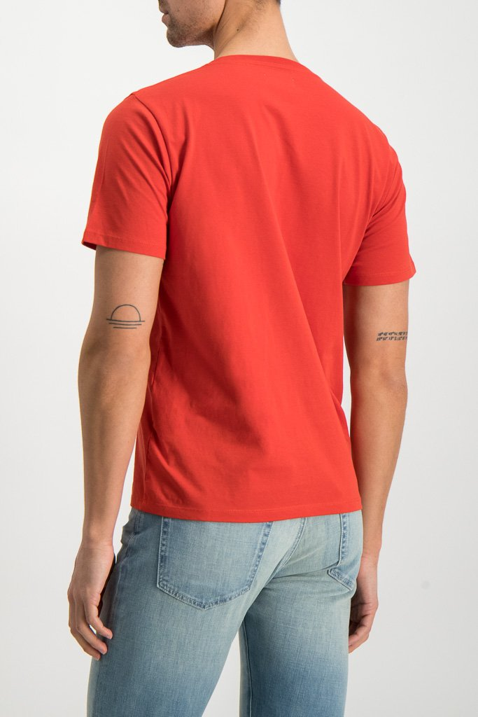 BAck Crop Image Of Model Wearing Saturdays NYC Miller Standard Short Sleeve Tee Chili