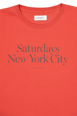 Collar Detail Image Of Saturdays NYC Miller Standard Short Sleeve Tee Chili