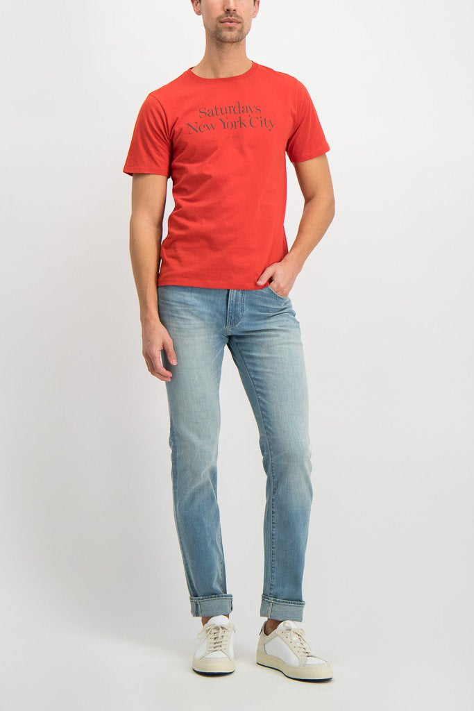 Full Body Image Of Model Wearing Saturdays NYC Miller Standard Short Sleeve Tee Chili
