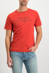 Front Crop Image Of Model Wearing Saturdays NYC Miller Standard Short Sleeve Tee Chili